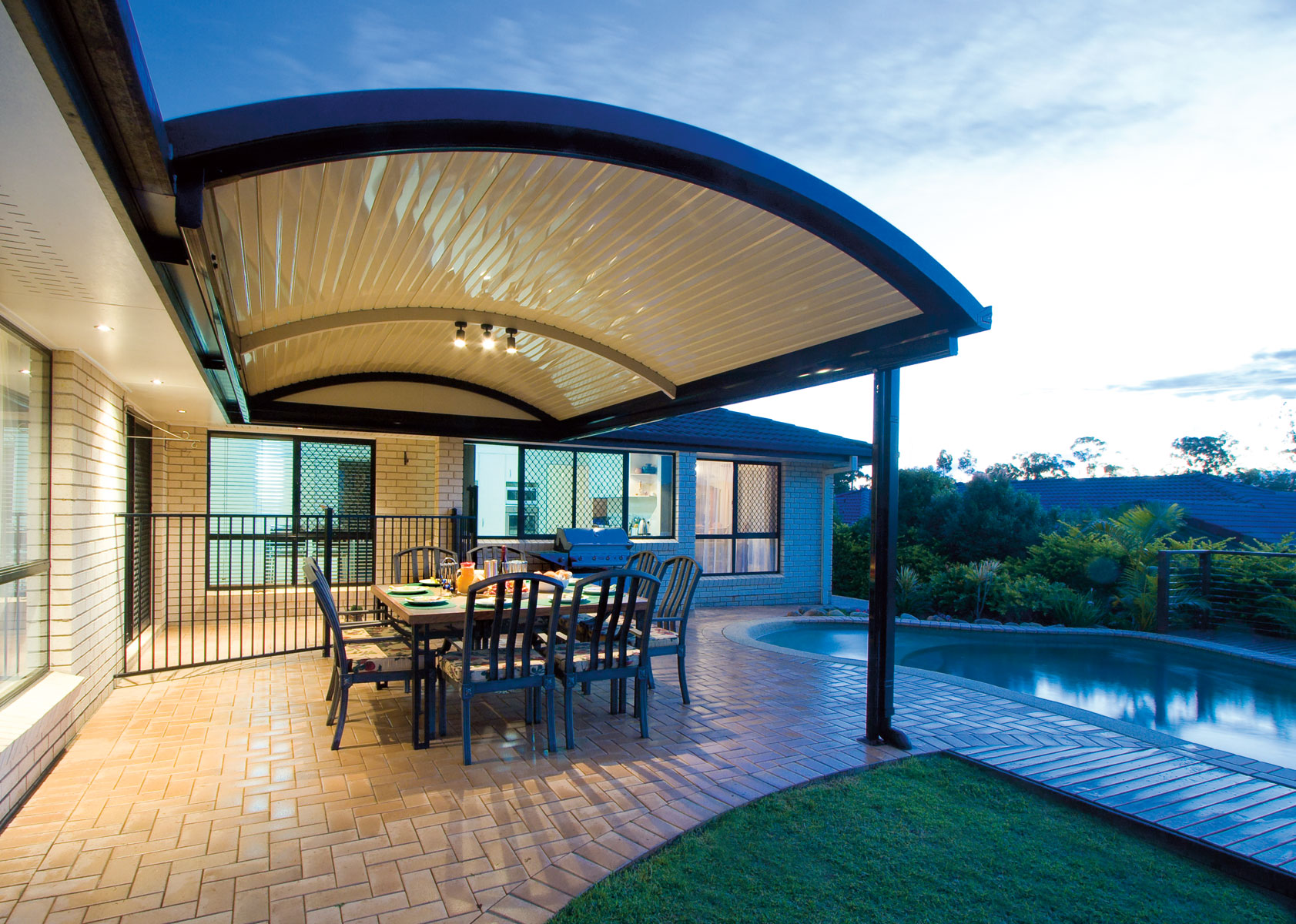 Patio with curved roofs - Stratco Outback Curved Roof Patio on Curved Patio Ideas id=26654